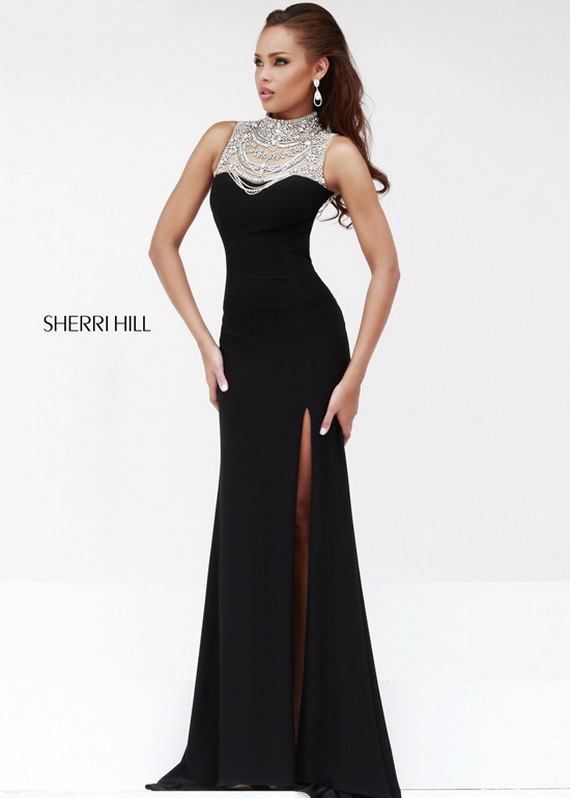 black long beaded high neck jersey slit sherri hill 21355