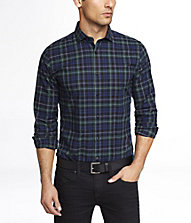 FITTED TARTAN PLAID SHIRT | Express