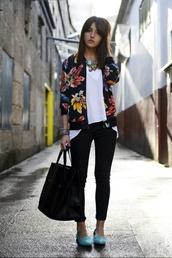 shoes,floral print jacket,ballet flats,blue ballet flats