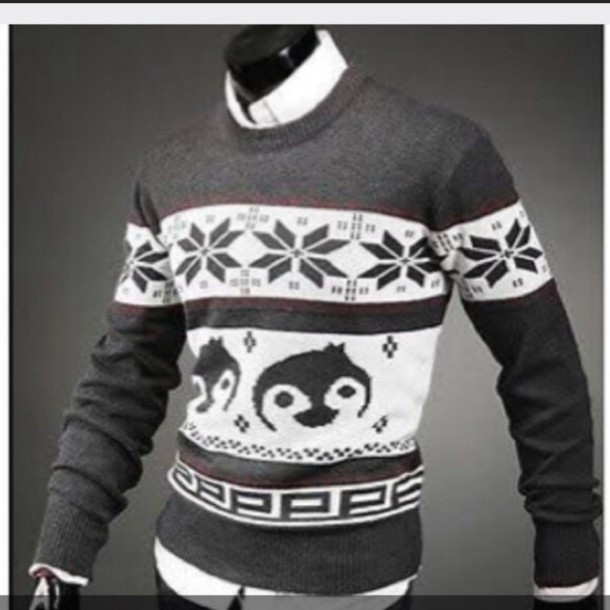sweater mens sweater christmas sweater penguin wheretoget