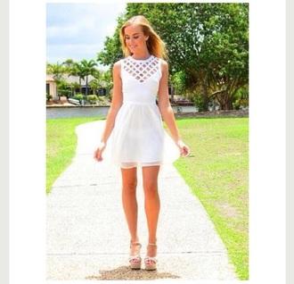 dress white dress mesh dress cut out dress
