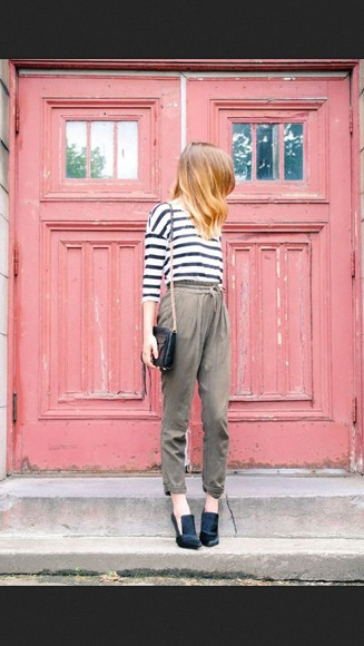 stripes cute top green pants