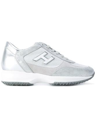 metallic women sneakers leather grey shoes