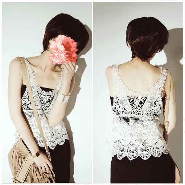 New women bohemian fashion sweet lace hollow crochet knit t shirt tank top vest
