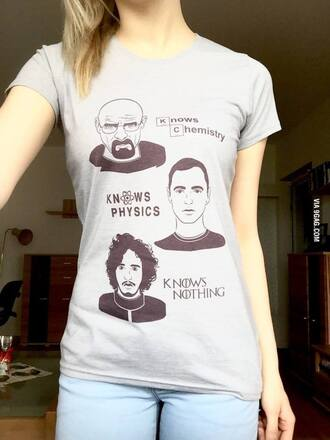 t-shirt grey big bang theory dragons knowledge tee breaking bad walter white chemistry penny @ the big bang theory sheldon coooper physics game of thrones jon snow nothing you know nothing tv show