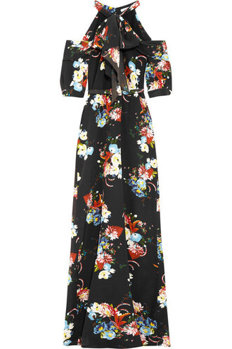 gown cold floral print black silk dress