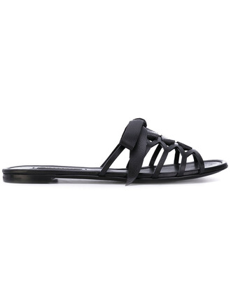 strappy women sandals flat sandals leather black shoes