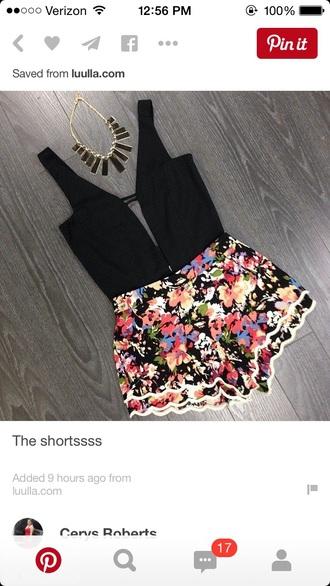 shorts outfit crop tops romper black crop top deep v neck tank top high waisted shorts summer shorts top
