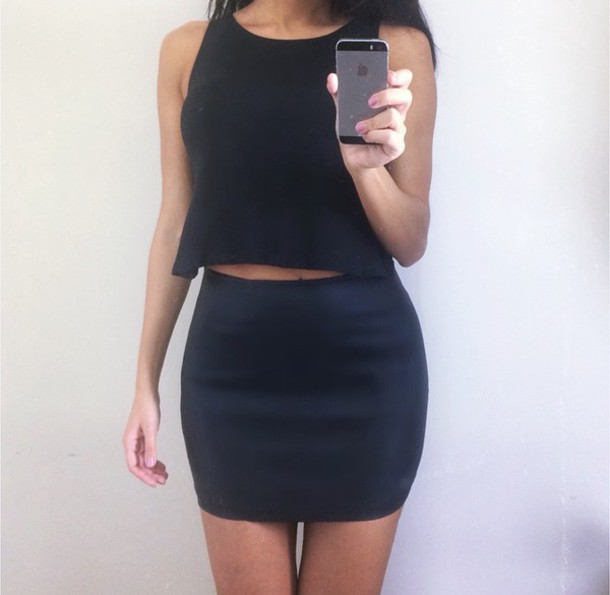 dress dress cute sexy hot hot black black dress cropped dress crop dress front crop dress leather dress leather clubwear date nigh love