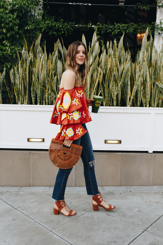 michelle madsen home - take aim blogger top bag shoes off the shoulder top straight jeans sandals mid heel sandals spring outfits blouse tumblr ruffled top off the shoulder denim jeans blue jeans cropped jeans sandal heels brown bag ruffle lefashion