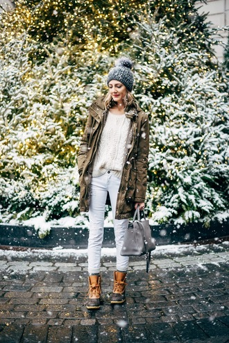 see anna jane blogger army green duck boots pom pom beanie grey beanie knitted beanie parka