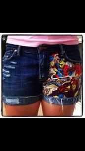 shorts,marvel,marvel superheroes,spiderman,thor,shirt,denim shorts,cute,sexy,summertime