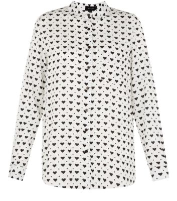 White Heart Print Long Sleeve Shirt