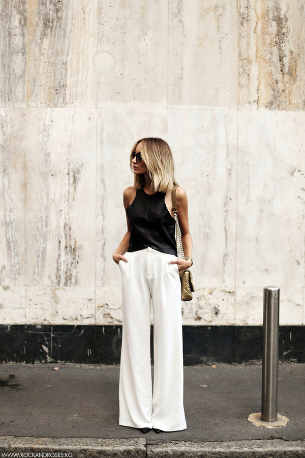 rock and roses blogger top bag jewels sunglasses pants white wide leg racer front top dress