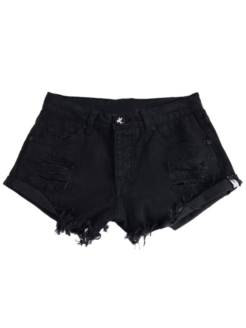 Black Ripped Raw Hem Low Waist Denim Shorts