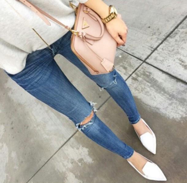 jeans blue jeans long pants ripped jeans bag