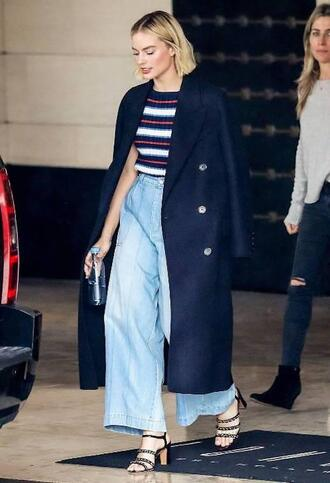 lefashion blogger coat sweater jeans pants shoes navy coat sandals wide-leg pants spring outfits