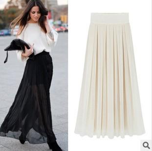 7a07af0f4 chiffon Bust Skirt 2014 Spring New High Waist Elastic Bohemian skirt sexy  maxi Skirts Women black ...