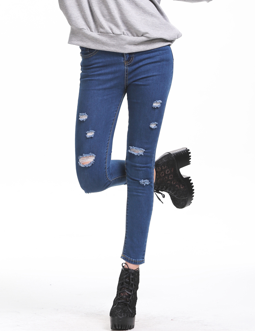 Blue Slim Ripped Denim Pant - Sheinside.com