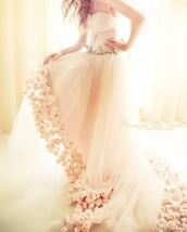 dress,roses,deta,wedding dress,white dress,white,chiffon,details,wedding,light,flower wedding dress,strapless wedding dresses,blush,rosettes,flowers,tulle skirt,pink,beautiful,flowy,floral train,bridal,princess,long train dress