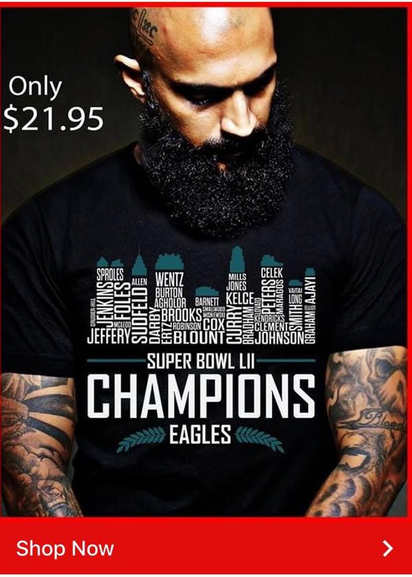 Champions Eagles Super Bowl T-shirt - StyleCotton 1277563e0