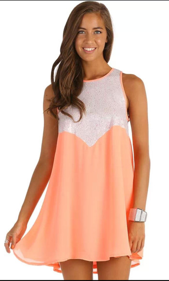 dress peach dress orange dress glitter glitter dress