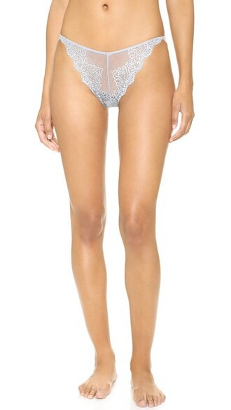 thong lace silver blue underwear