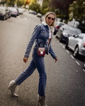 camila carril,blogger,jacket,top,shoes,sunglasses,bag,shearling jacket,shearling denim jacket,fall outfits,boots,ankle boots