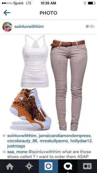 belt shoes leopard print air jordans women