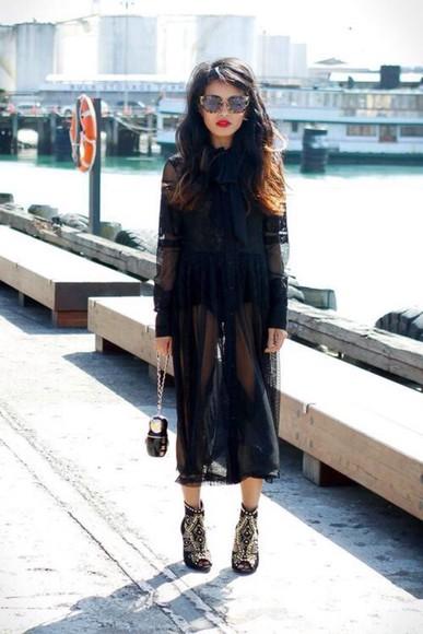 black fashion style kimono lace dress midi dress