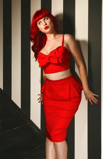 top bow top red top pinup top high waisted skirt peplum skirt red skirt pencil skirt midi skirt