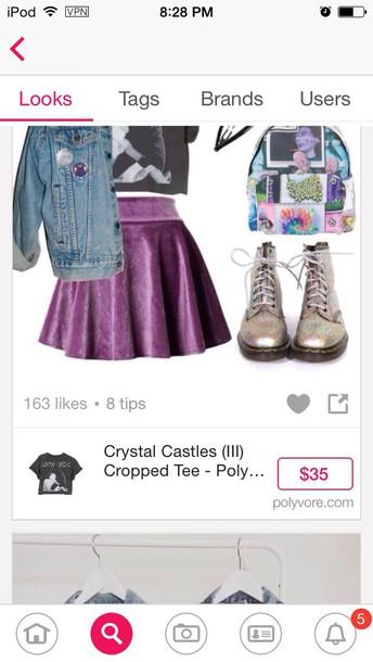 bag grunge backpack skirt gloves hat earphones