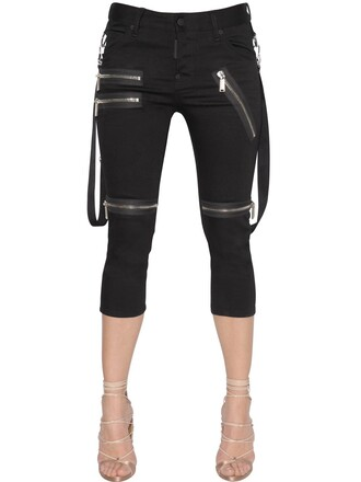 jeans denim girl cool cropped zip black