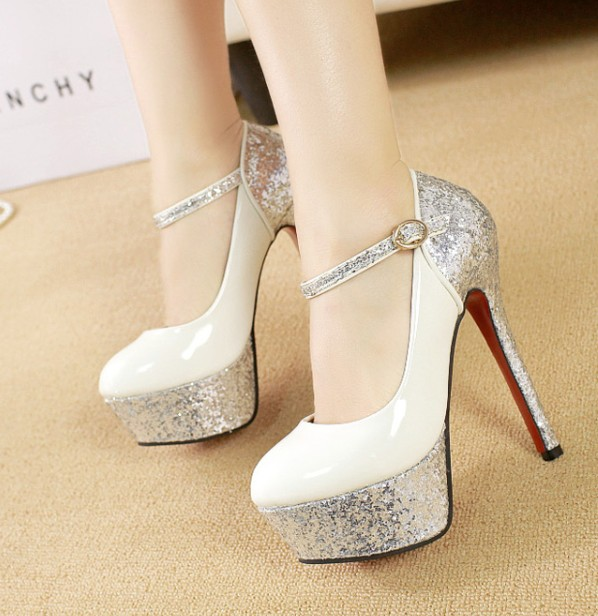 Paillette thick heel gold high heeled silver wedding platform strap bridal shoes   FREE SHIPPING-inPumps from Shoes on Aliexpress.com