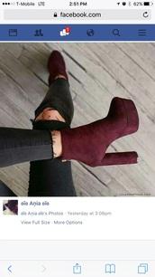 shoes,boots,burgundy,suede boots,booties,heels,high heels,sweater,red,escarpin,supreme bitch,red heels