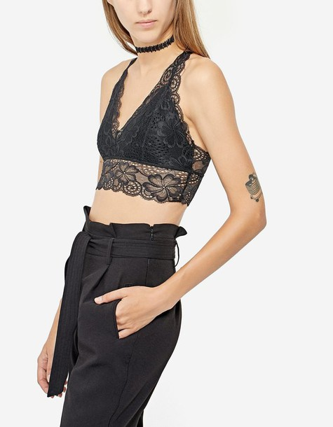 Stradivarius bralette back lace black underwear