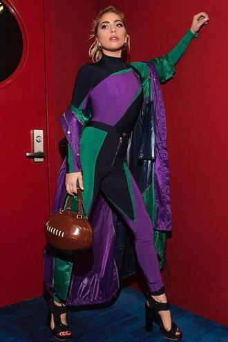 pants leggings lady gaga sandals versace bodysuit top superbowl purple colorblock