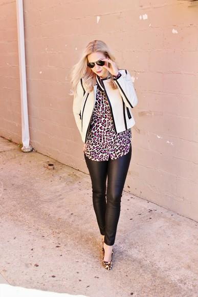 leopard print blogger jacket top leopard print high heels sunglasses b soup shirt leather pants