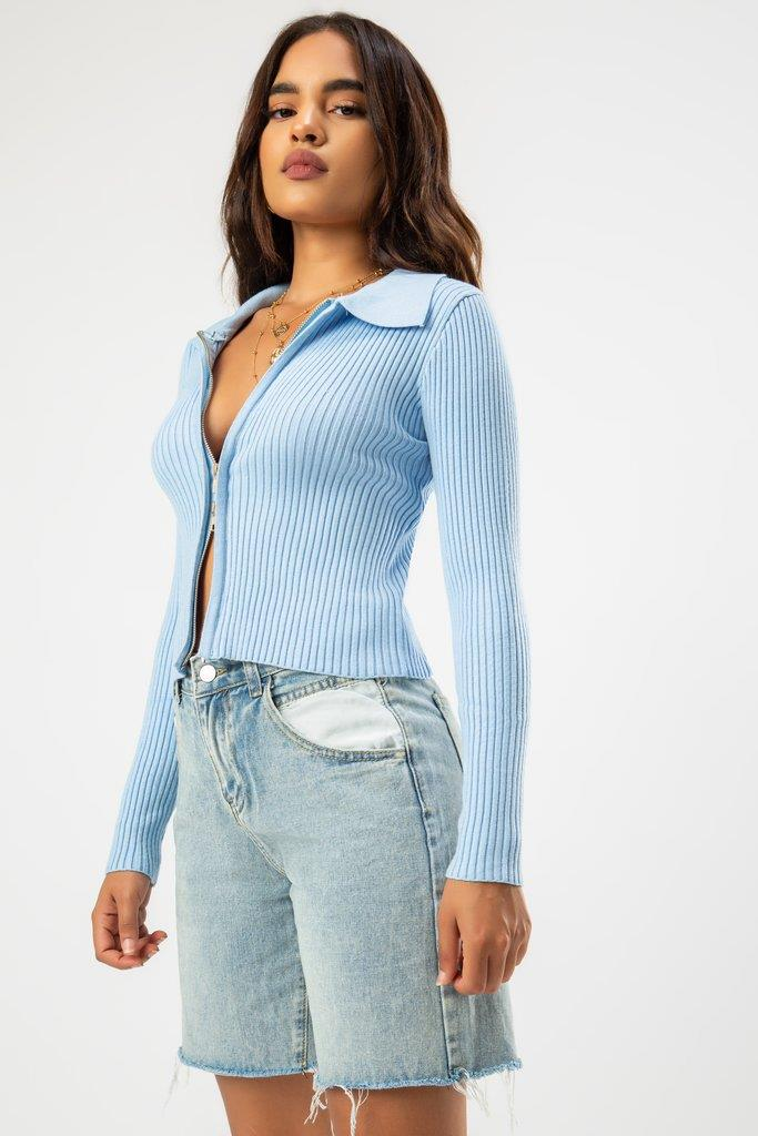 Jade Two Zippers Sweater - Blue