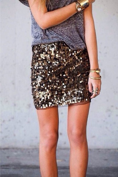 skirt gold sequin skirt