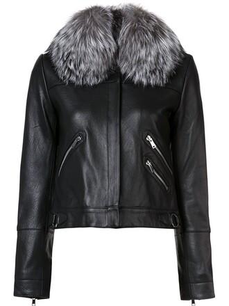 jacket zip women leather black
