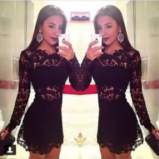 mid short mini dress girl gorgeous fashionista lace dress lace dress white floral dress cut-out jeans oval side detail bkack little black dress black dress fashion cute dress sexy dress homecoming dress short dress black lace dress black black short lace dress