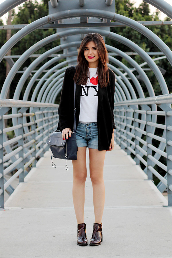 fake leather t-shirt jacket shorts shoes