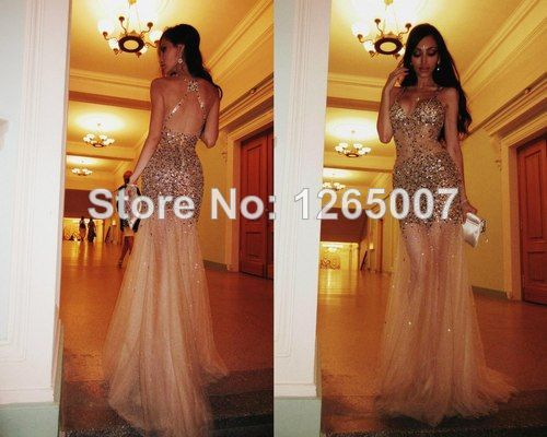 Aliexpress.com : Buy Sexy Fashion Spaghtti Traps Sweetheart Glitter Beaded Shiny See Thourgh Mermaid Tulle Prom Dress Fashion Blush Long Dress Sexy from Reliable dress shirt fabric types suppliers on SFBridal