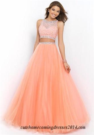 dress coral peach dress prom dress sparkly dress