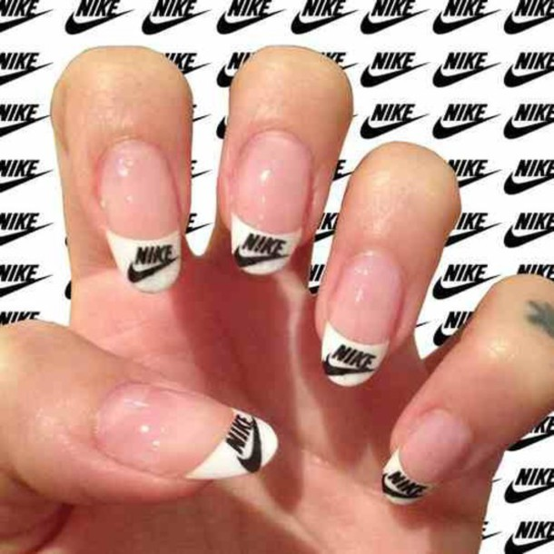 nail accessories, nail polish, nike, white, black, soft grunge ...