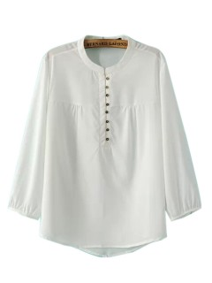 White long sleeve button detail blouse