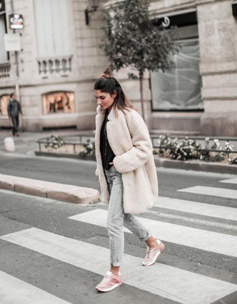 coat tumblr white coat teddy bear coat fuzzy coat denim jeans blue jeans sneakers pink sneakers