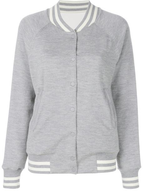 jacket bomber jacket women spandex wool knit grey