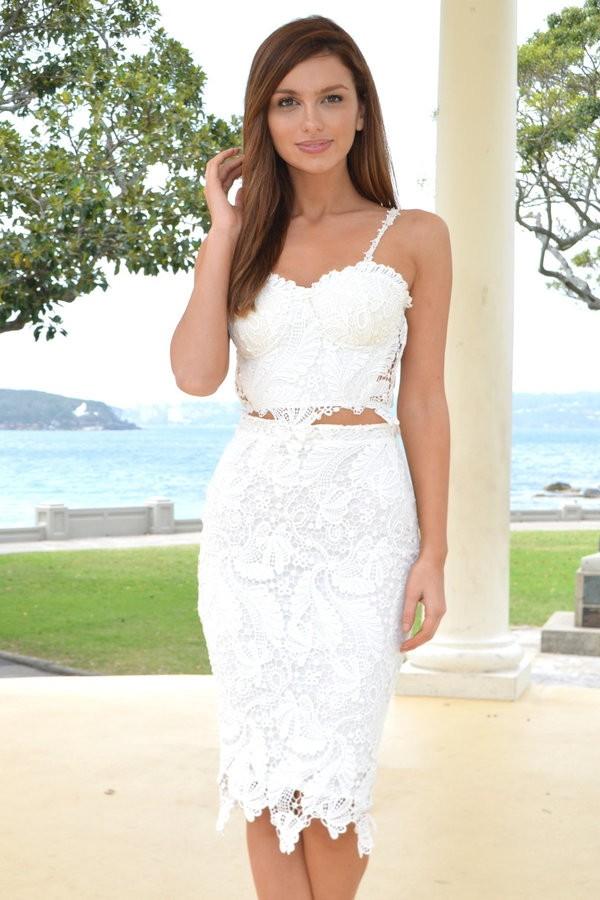Sarina white lace two piece set